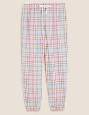 Kadın Pembe Kareli Jogger Pijama Altı