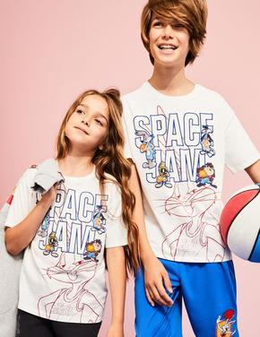 Erkek Çocuk Beyaz Space Jam: A New Legacy™ Pamuklu T-Shirt (6-16 Yaş)