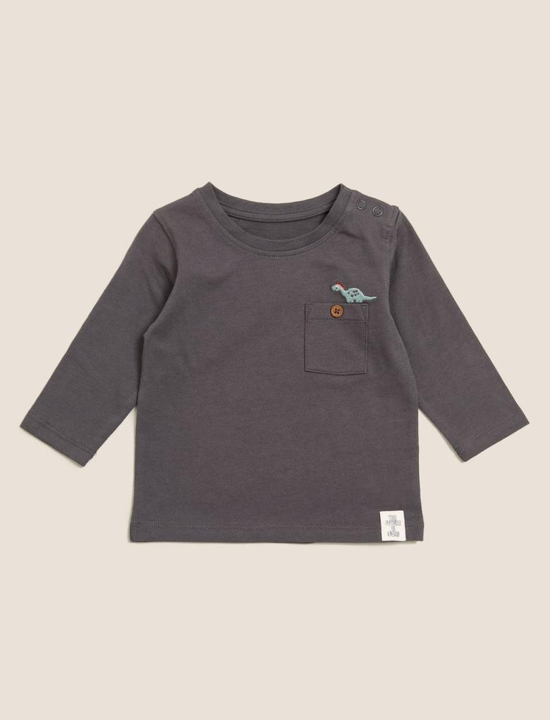 Bebek Sarı Saf Pamuklu 2'li Uzun Kollu T-Shirt (0-3 Yaş)
