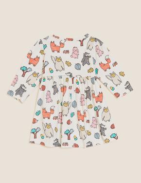 Bebek Krem Saf Pamuklu Grafik Desenli Elbise (0-3 Yaş)