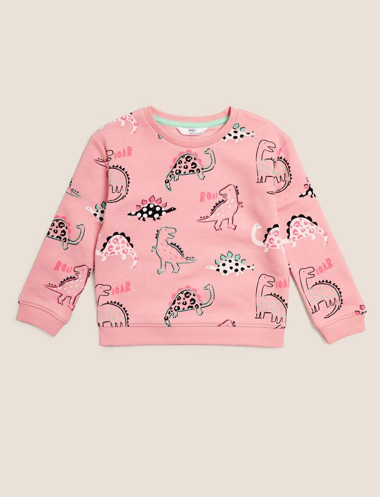 Kız Çocuk Pembe Dinozor Desenli Yuvarlak Yaka Sweatshirt (2-7 Yaş)