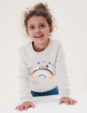 Kız Çocuk Gri Dinozor Desenli Yuvarlak Yaka Sweatshirt (2-7 Yaş)