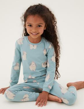Çocuk Multi Renk Tavşan Desenli Pijama Takımı (1-7 Yaş)