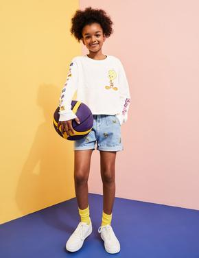 Kız Çocuk Beyaz Saf Pamuklu Space Jam: A New Legacy™ T-Shirt (6-16 Yaş)
