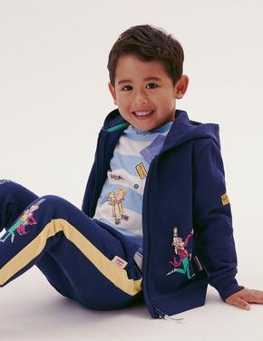 Erkek Çocuk Lacivert Roald Dahl™ Fermuarlı Sweatshirt (2-7 Yaş)