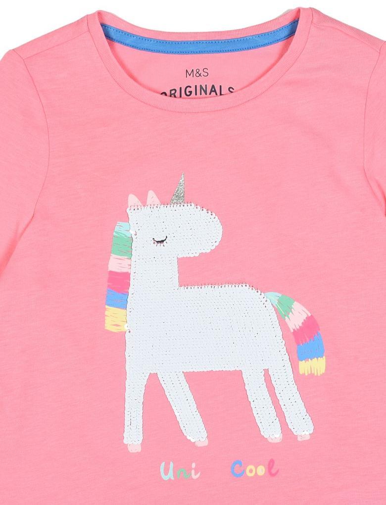 Kız Çocuk Pembe Unicorn Desenli Uzun Kollu T-Shirt