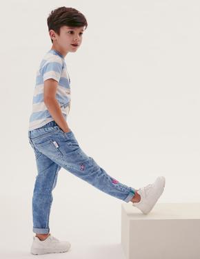 Erkek Çocuk Mavi Roald Dahl™ Pamuklu Regular Pantolon (2-7 Yaş)