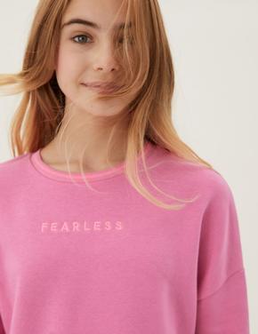 Kız Çocuk Pembe Slogan İşlemeli Yuvarlak Yaka Sweatshirt (6-16 Yaş)