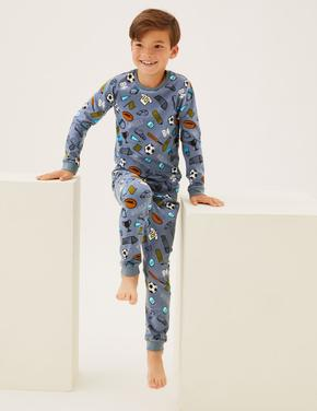 Çocuk Multi Renk Futbol Desenli Pijama Takımı (7-16 Yaş)