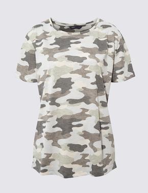 Kadın Yeşil Kısa Kollu Relaxed Fit T-Shirt