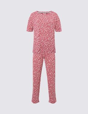 Kadın Pembe Desenli Kısa Kollu Pijama Takımı