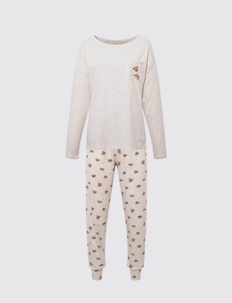 Kadın Bej Grafik Desenli Pijama Takımı