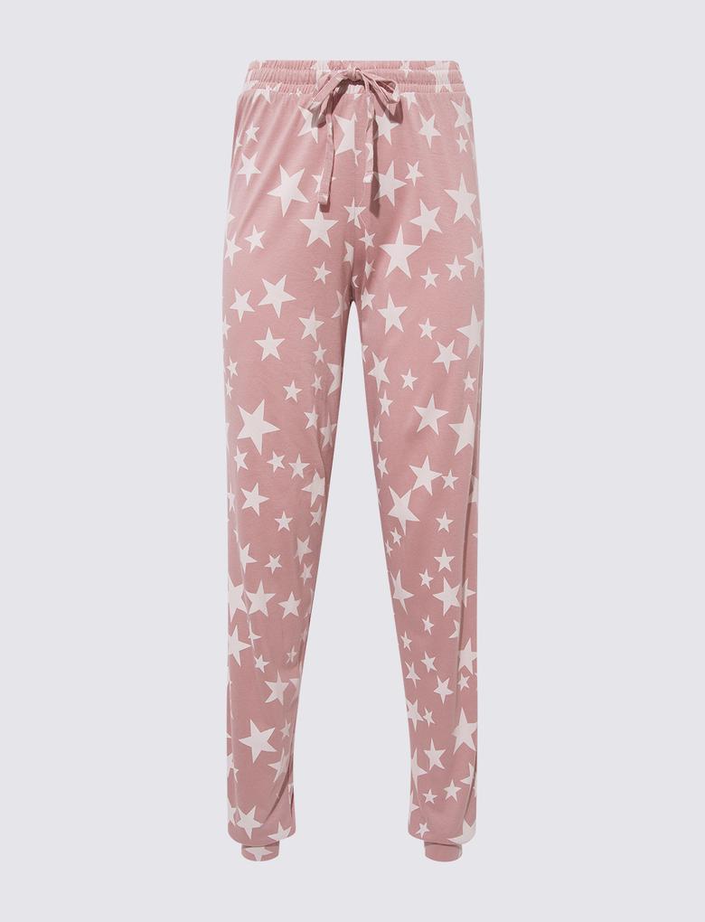 Kadın Pembe Yıldız Desenli Pijama Takımı