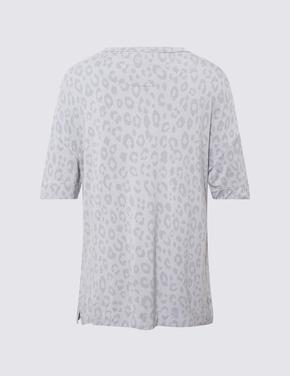 Kadın Gri Leopar Desenli Pijama Takımı