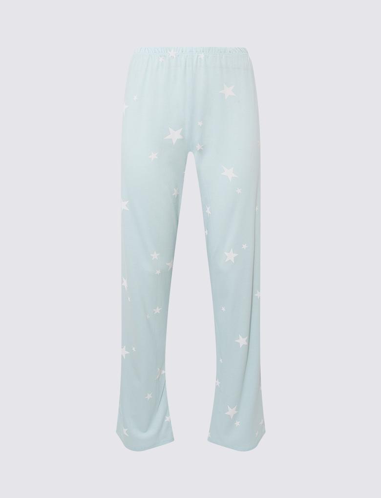Kadın Yeşil Yıldız Desenli Pijama Takımı