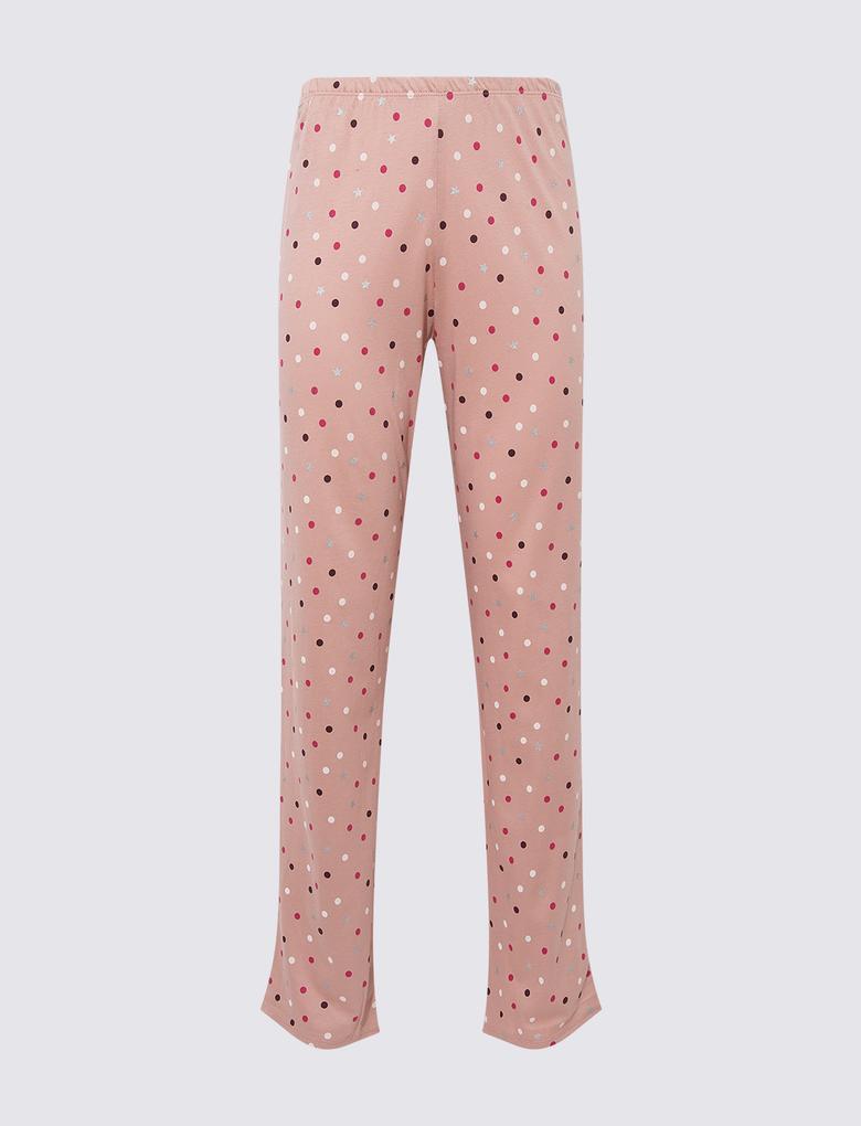 Kadın Pembe Slogan Detaylı Pijama Takımı
