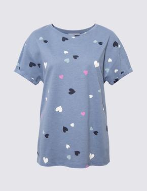 Kadın Mavi Grafik Desenli Şort Pijama Takımı