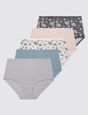Kadın Pembe 5'li Cotton Lycra® Desenli Full Brief Külot