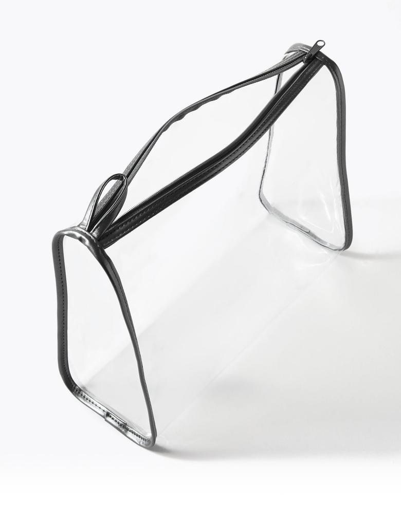 Kozmetik Siyah 3'lü Transparan Çanta Seti