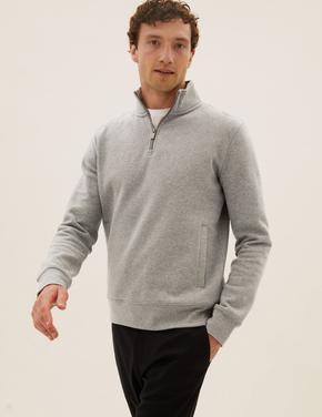 Erkek Gri Saf Pamuklu Yarım Fermuarlı Sweatshirt
