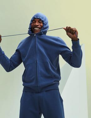 Erkek Mavi Saf Pamuklu Kapüşonlu Sweatshirt