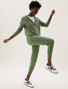 Kadın Yeşil Yumuşak Dokulu Jogger Eşofman Altı