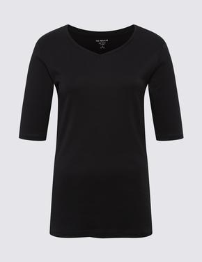Kadın Siyah Saf Pamuklu V Yaka T-Shirt