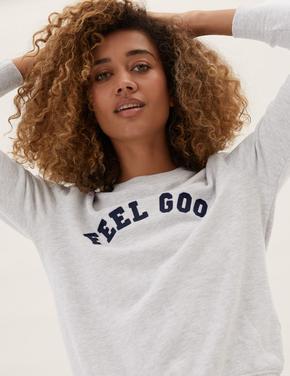 Kadın Gri Slogan Detaylı Yuvarlak Yaka Sweatshirt
