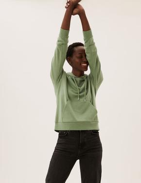 Kadın Yeşil Uzun Kollu Kapüşonlu Sweatshirt