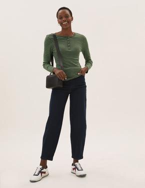 Kadın Yeşil Saf Pamuklu Çizgili T-Shirt