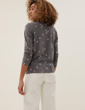 Kadın Gri Saf Pamuklu Çiçek Desenli T-Shirt