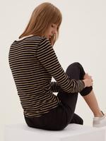Kadın Siyah Saf Pamuklu Çizgili T-Shirt