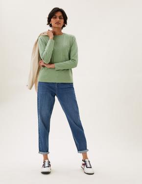 Kadın Yeşil Saf Pamuklu Cep Detaylı T-Shirt