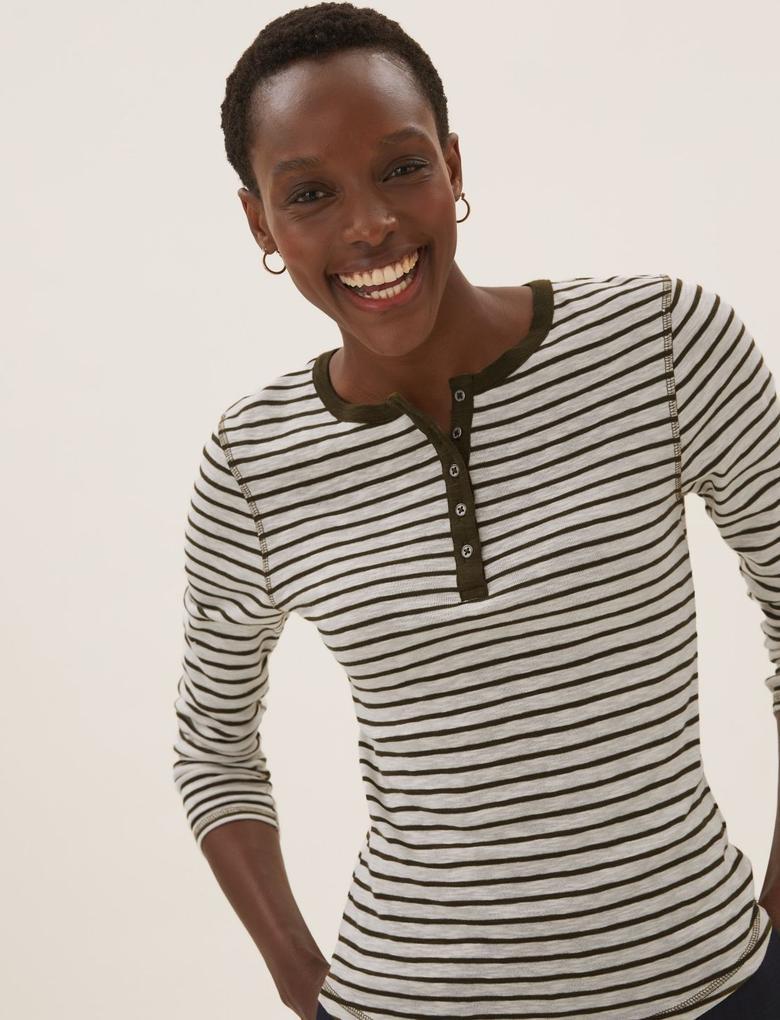 Kadın Krem Saf Pamuklu Çizgili T-Shirt
