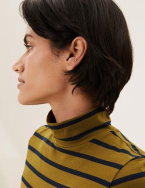 Kadın Yeşil Balıkçı Yaka Çizgili T-Shirt