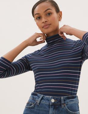 Kadın Lacivert Balıkçı Yaka Çizgili T-Shirt