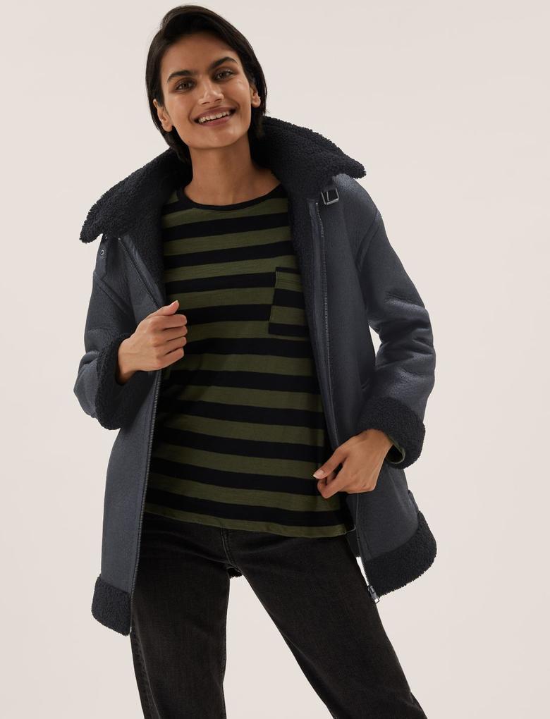 Kadın Siyah Kapüşonlu Aviator Ceket