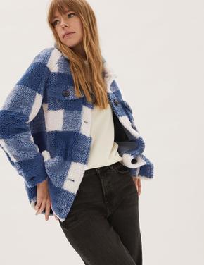 Kadın Lacivert Ekose Desenli Polar Gömlek Ceket