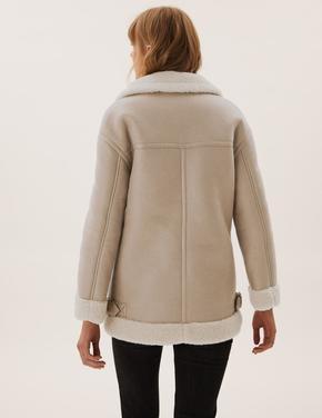 Kadın Bej Kapüşonlu Aviator Ceket