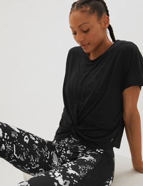 Kadın Siyah Büzgü Detaylı Crop T-Shirt
