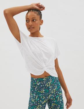 Kadın Beyaz Büzgü Detaylı Crop T-Shirt