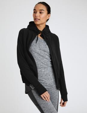 Kadın Siyah Kapüşonlu Fermuarlı Sweatshirt