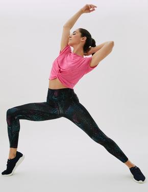 Kadın Siyah Go Train Desenli Yüksek Bel Spor Taytı