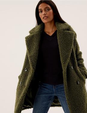 Kadın Yeşil Polar Kruvaze Kaban