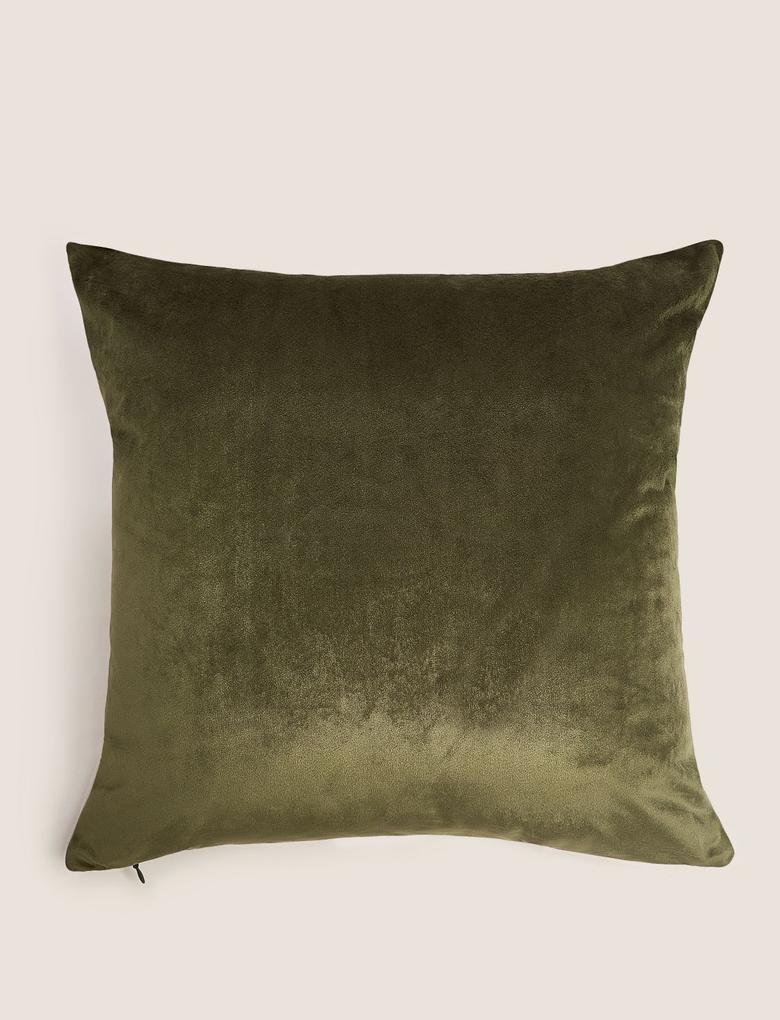 Ev Yeşil Kelebek İşlemeli Kadife Yastık