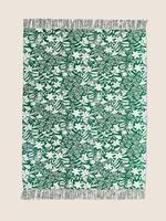 Ev Yeşil Saf Pamuklu Çiçek Desenli Koltuk Şalı