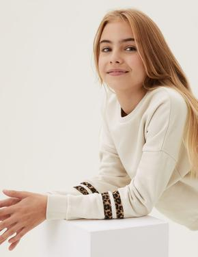 Kız Çocuk Beyaz Leopar Şerit Desenli Sweatshirt (6-16 Yaş)