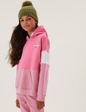 Kız Çocuk Pembe Slogan Desenli Kapüşonlu Sweatshirt (6-16 Yaş)