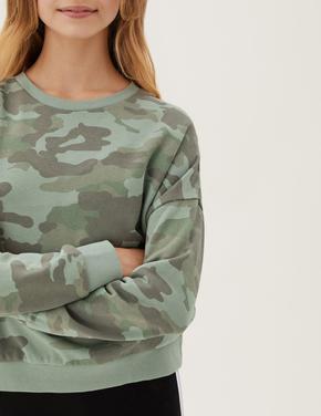 Kız Çocuk Yeşil Kamuflaj Desenli Sweatshirt (6-16 Yaş)