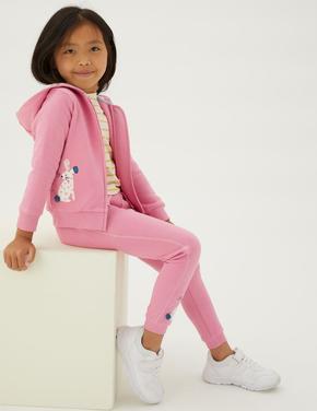 Kız Çocuk Pembe Tavşan Desenli Kapüşonlu Sweatshirt (2-7 Yaş)